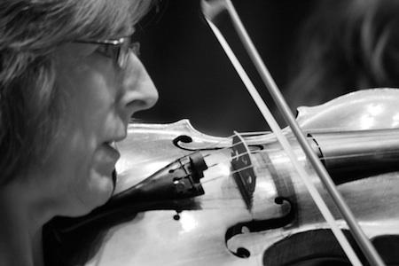 A first violinist rehearsing, March 2010